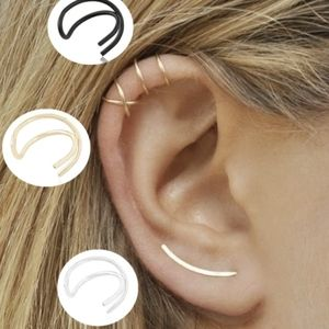 Women's 3PC Clip On Earring Cuff Helix Crossover